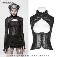 PUNK RAVE Women's Steampunk Vintage Metal tipped Rivet Floral Vest Gothic Fashion Party Club Personality Women Tops Clothes