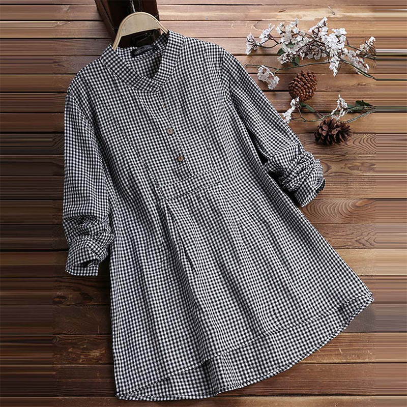 Women's Plaid Tunics Long Sleeve Blouse Stand Collar Vintage Tunic Blouses Lady Casual 2020 Spring Summer Loose Tops Female
