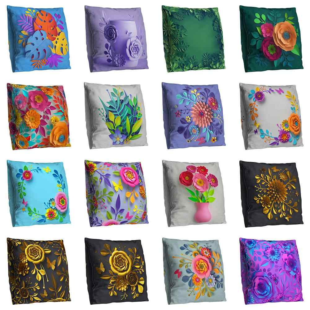 Double-side Flower Print Throw Pillow Case Cushion Cover Sofa Bed Car Cafe Decor Bedding Sets 2019 hot sales