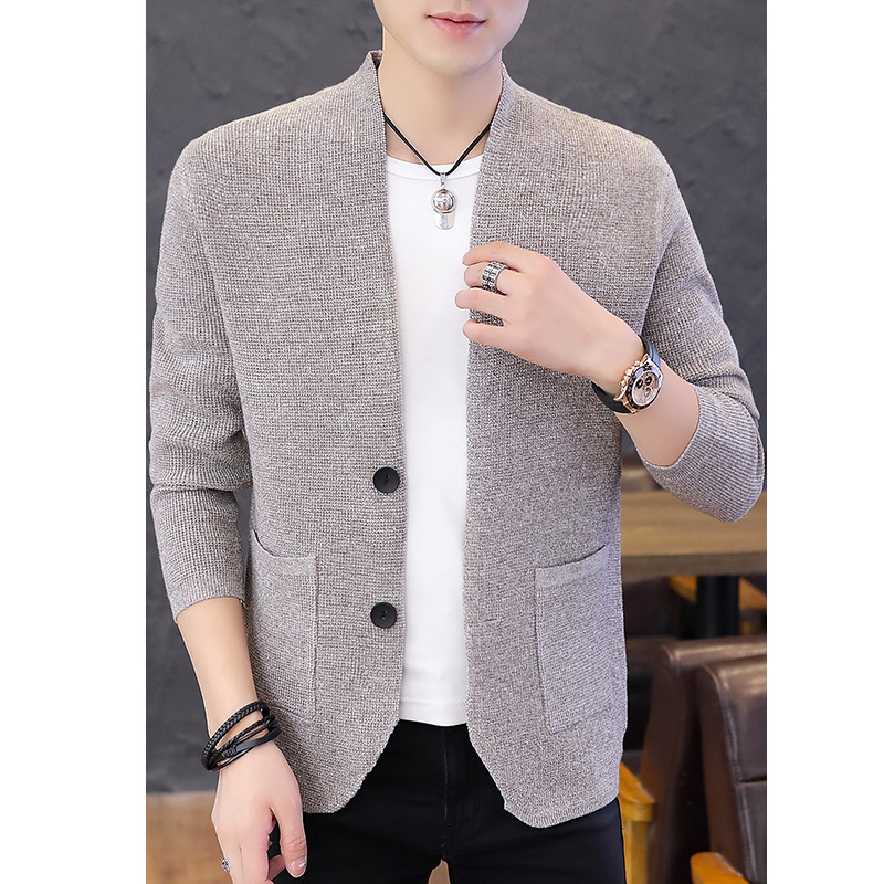 2020 Without Collar Leisure Men Cardigan Sweater Teenagers Button Two Pure Color Knitted Cardigan