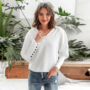 Image 2 - Simplee V hals Vrouwen Blouse Shirt Bladerdeeg Mouw Knop Witte Blouse Herfst Winter Lady Shirt Top Vrouwelijke Kantoor Chiffon Blouse tops