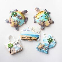 Ímãs de geladeira 3d para cabo verde viagem boa vista praia tartaruga lembrança geladeira etiqueta magnética artesanato decoração da sua casa