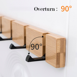 Creative Wall Hat Clothes Adhesive Solid Wood Wall Hangers Folding Coat Hook Wooden Wall Living Room Kitchen Toilet Bamboo Rack