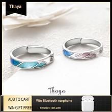Thaya רב צבע שיפוע טבעות מתכוונן תכשיטי 925 כסף טבעת מעגל טבעות לזוגות אירוסין מתנה