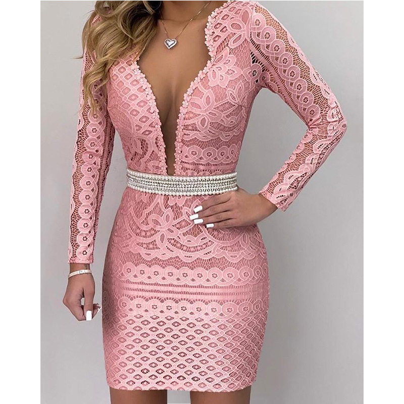 Long Sleeves Pink Lace Cocktail Dresses Deep V Neck Sexy Straight Short Mini Party Gown In Stock Fashionable ESAN329