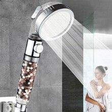 VEHHE New Tourmaline Filter balls Water saving 3 Modes adjustable SPA shower head switch button high pressure spry