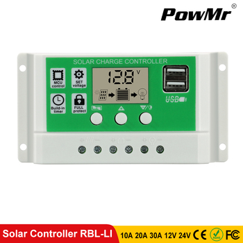 PowMr Solar Charger Controller 30A 20A 10A 12V 24V Battery Charger LCD Dual USB Solar Panel Regulator for Max 50V PV Input solar battery charger controller mppt tracer3210cn usb cable 30a 12v 24v auto work max system power 780w epever epsolar brand