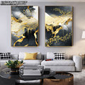 Холст для живописи плакат абстрактного искусства Золотой Черный и белый абстрактный стены искусства плакат и принты Nordic прикроватная укра...