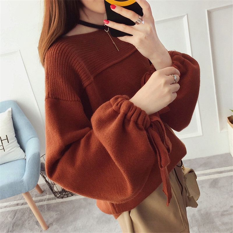 2020 New Women's Pullover Coarse Wool Sweater Warm Spring Autumn Winter Casual Sleeved Pullover