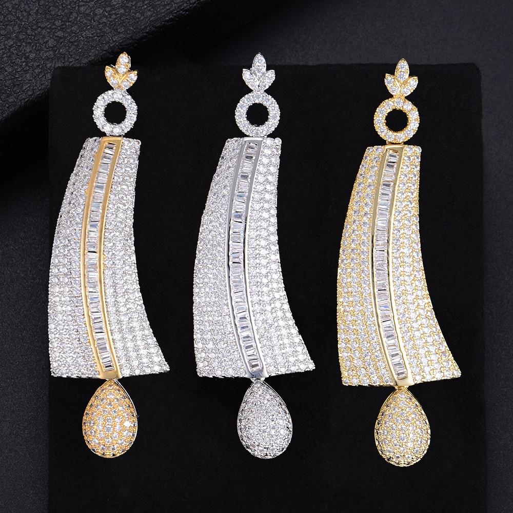 LARRAURI complet Mini zircon cubique brillant bijoux magnifique Noble pendentif boucles d'oreilles femmes mariage anniversaire bijoux