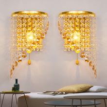 Led Wall Lamp Modern Simple Golden Crysta Bathroom Mirror Light Creative American Living Room Bedside Wall Lights Iutdoor