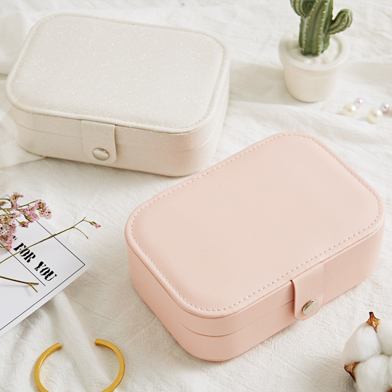Portable Leather Earrings Ring Storage Box Korean Style Girl Lady Earrings Plate Jewelry Box Multi-function Jewelry Storage Box