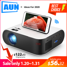 AUN MINI Projector W18C, 2800 Lumens, 854*480P, Wireless Sync Display For Phone, Portable Home Cinema for Full HD 1080P Beamer