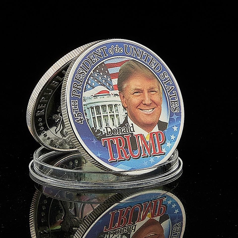 América presidente donald trump prata chapeado collectible presidente moeda