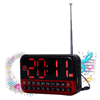 Digital Alarm Clock LED Display Radio Music MP3 Speaker Travel Snooze Function Wireless Antenna Office Home For Parent The Aged