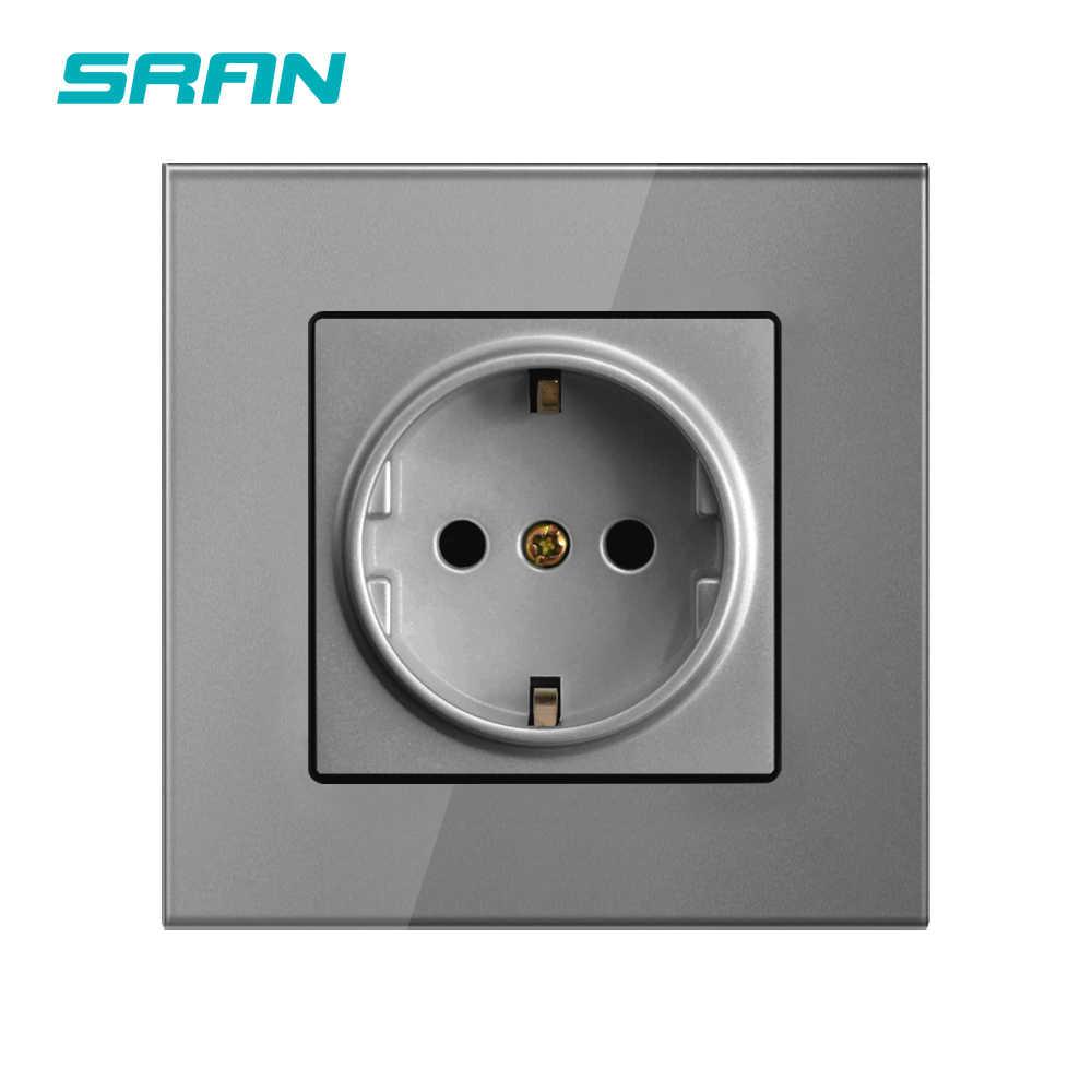 SRAN 전원 소켓, 16A EU 표준 전기 콘센트 86mm * 86mm 화이트 크리스탈 유리 패널 벽 소켓