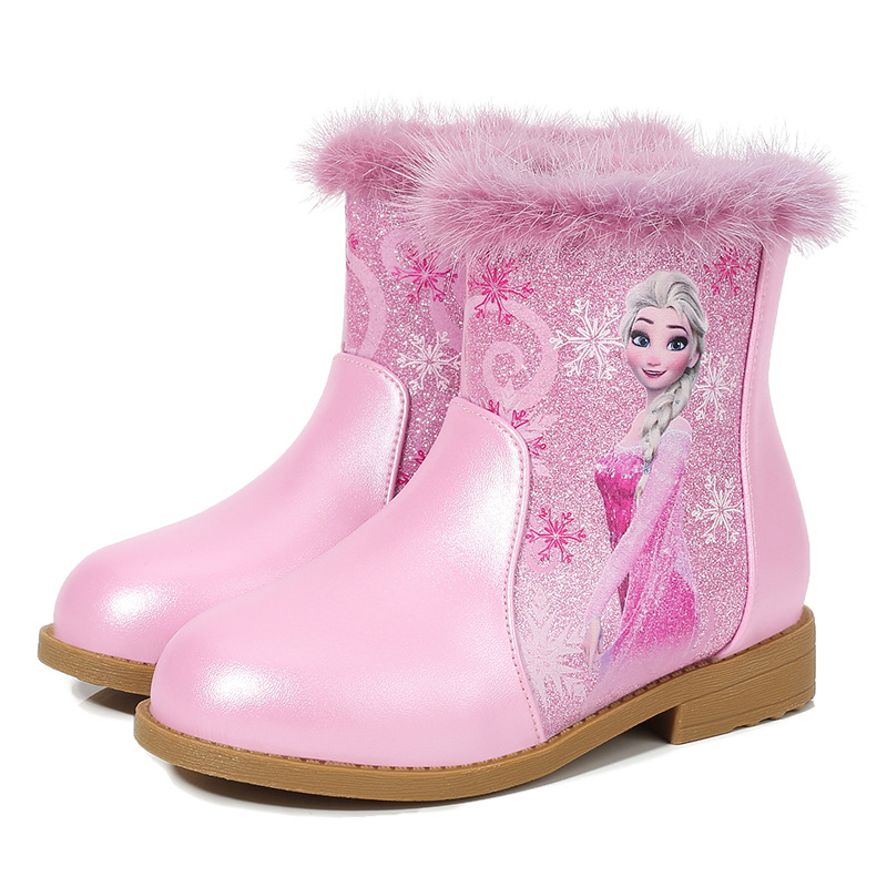 Girls Frozen Elsa  Autumn Winter Princess Boots Disney  Cute Warm Beads Cartoon  Elsa Leather Kids Cartoon Shoes