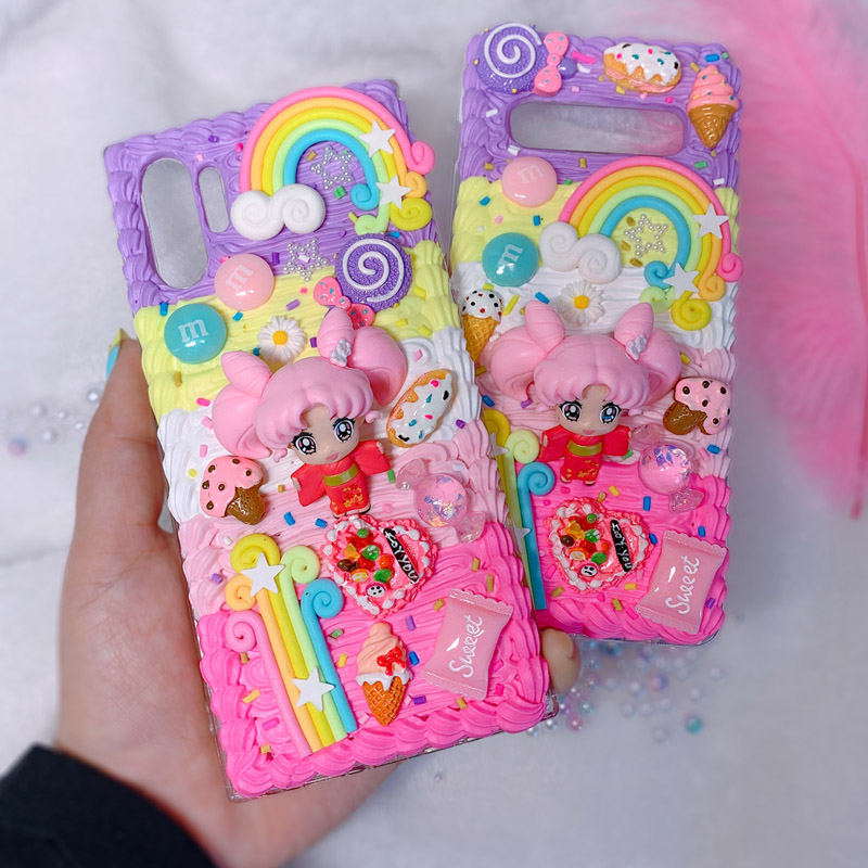 For <font><b>Samsung</b></font> Note10 plus DIY <font><b>case</b></font> 3D Sailor moon <font><b>phone</b></font> cover for Galaxy s10 plus <font><b>s7</b></font>/s8/9+ handmade creamy shell note8/9 girl gift image
