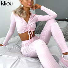 Kliou Knitted Solid Two Piece Sets Women 2020 Autumn Sexy V-Neck Crop Tops+Elastic Leggings Matching Suits Female Outfits Hot