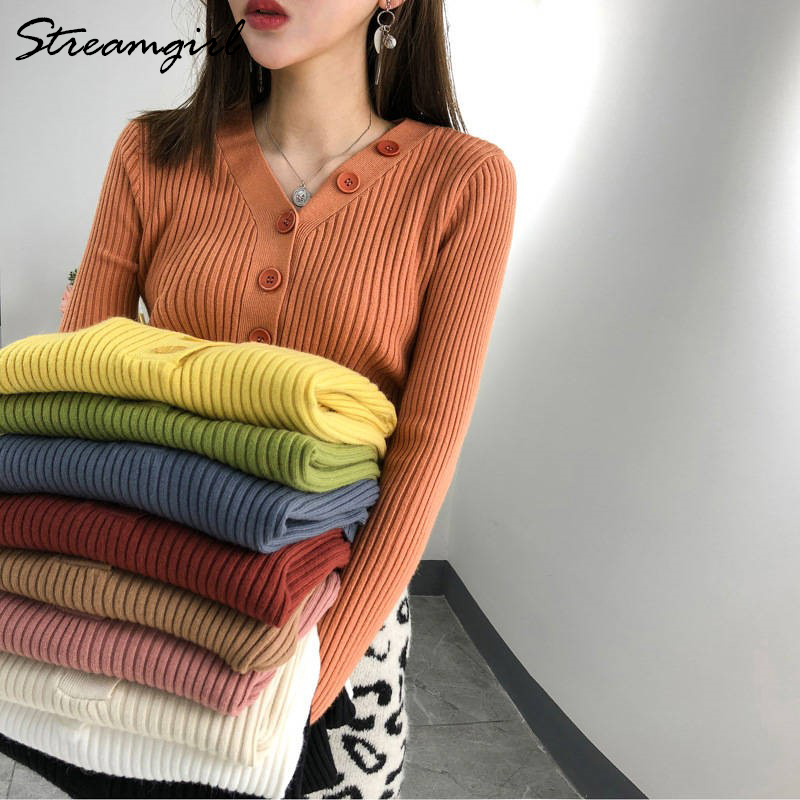 V-neck Ribbed Sweater With Buttons Women Jumper Pullovers Knitted Stylish White Sweater For Women Sweaters And Pullovers Spring