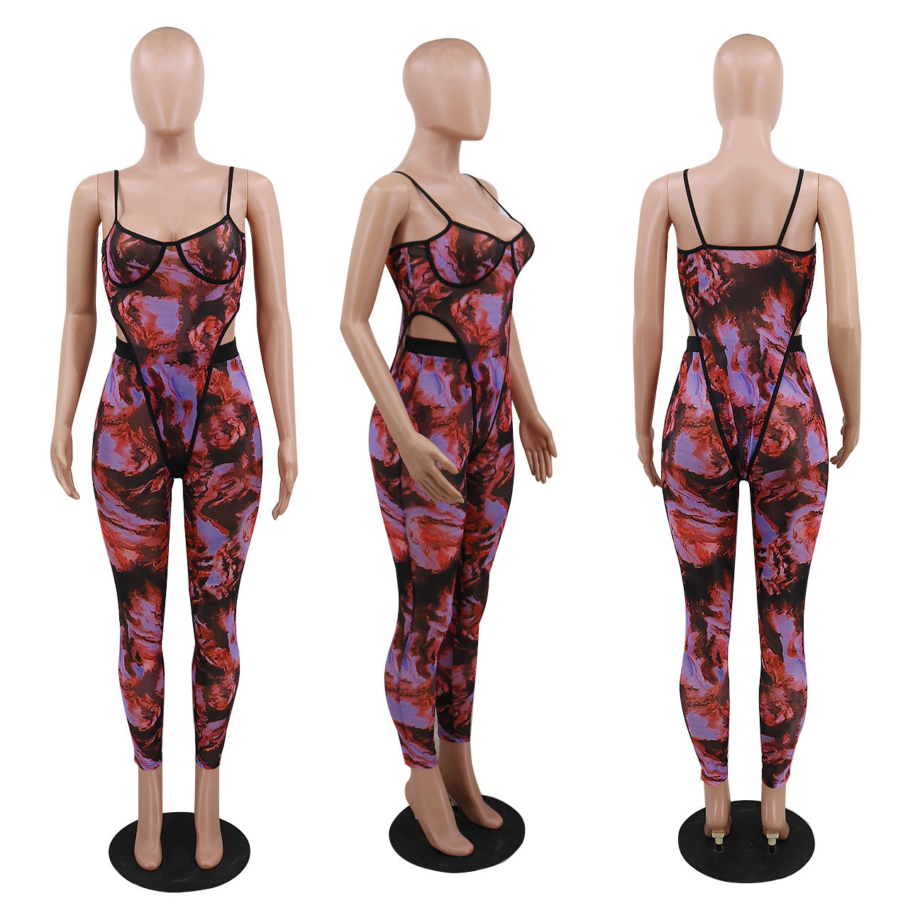 ANJAMANOR Fashion Print Sheer Mesh Pants Set Clubwear See Through Jumpsuit Women Two Piece Outfits Bodysuit Leggings D57-CD18 6