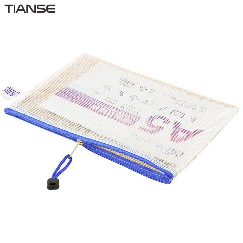 TIANSE 10 Pieces/pack Waterproof Translucent Grid Zipper File Bag Durable PVC A5 Size Bags School Office Supplies