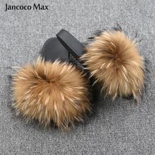 Yeni varış ayakkabı kadınlar terlik gerçek rakun kürk slaytlar yaz kürk Flip flop bayan sandalet kabarık kaydırıcılar S6020
