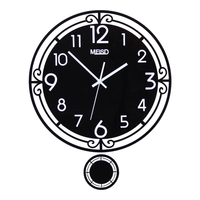 MEISD Black Round Swingable Wall Clock Modern Design 3D Acrylic Living Room Traditional Chinese Style Clocks Watch Free Shining