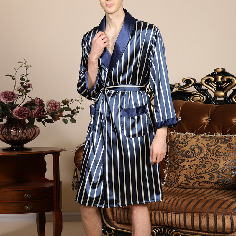 Sleepwear Pajamas Kimono Bathrobe Night-Dressing-Gown Satin Long-Sleeves Stripe Mens title=