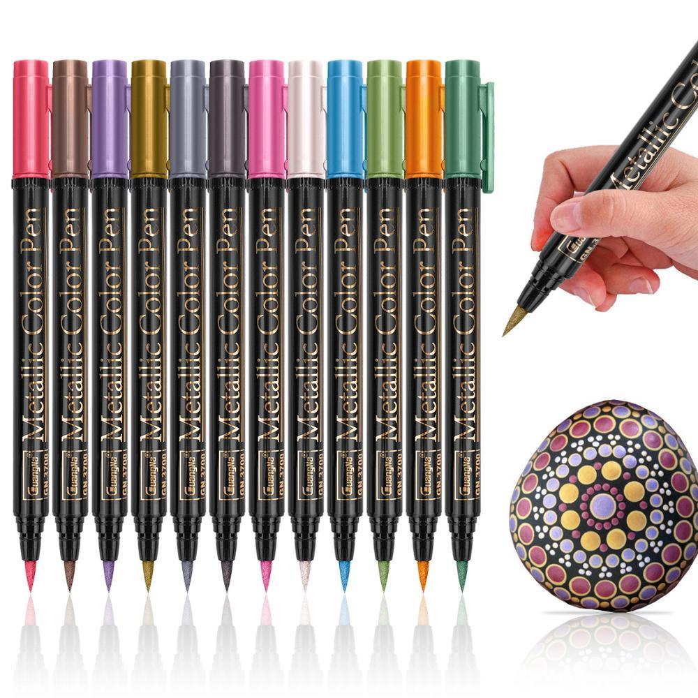 Canetas metálicas de alta qualidade, canetas metálicas de 2mm com base em água para desenho de cartão marrom e preto, material escolar de papelaria