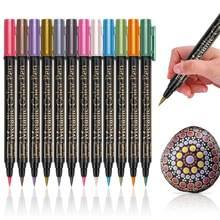 12 colori/lotto di alta qualità metallic penna 2 millimetri a base di acqua per il nero di carta marrone Disegno Materiale Scolastico di Cancelleria