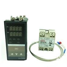 REX C400 dijital termostatı RKC PID sıcaklık kumandası termostatı (SSR çıkışı) + K tipi termokupl + Max 40A SSR röle