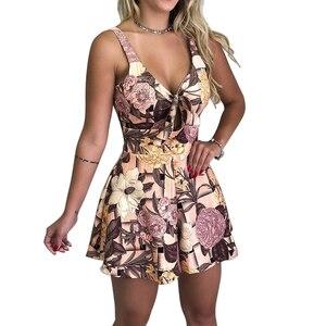 Летний женский модный сексуальный Свободный комбинезон с галстуком-бабочкой на груди, Женская рабочая одежда