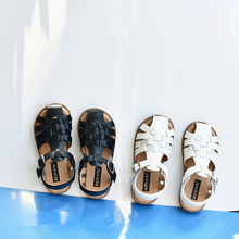 Summer Boys Sandals Quick Dry Cowhide Breathable Close Toe Girls Beach Sandals Genuine Leather Children's Casual Shoes 6T