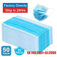 Face masks Surgical 3 Layers 95% Anti Bacteria Disposable Proof Flu Face Mouth Mask Non Woven Earloops Respirator 20/50pcs