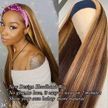 Ombre mettre en évidence bandeau perruques P4/27 couleur brésilienne droite bandeau perruque perruques de cheveux humains brun et blond mettre en évidence perruques
