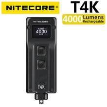 Nitecore t4k 4000 lumens portátil chaveiro lanterna, 4 leds luz super brilhante, built-in bateria usando USB-C de carregamento