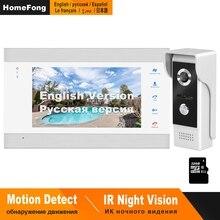 HomeFong drzwi wideo domofon telefoniczny przewodowy 7 cal Monitor Night Vision dzwonek do drzwi uchwyt na aparat czujnik ruchu rekord domofony domofon domu