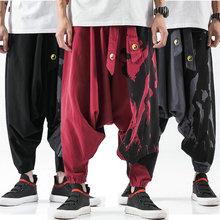 2020 New Mens Cross Pants Harajuku Style Harem Pants Male Loose Cotton Linen Sweatpant Mens Casual Streetwear Large size M-5XL