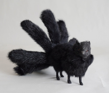 creative real life nine-tails fox model plastic&furs black fox doll gift about 30x12.5cm xf2803