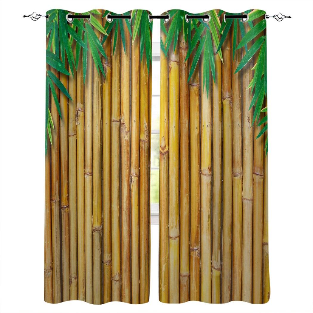 Бамбуковые желтые листья растения, оконные шторы, занавески для гостиной, кухни, занавески для спальни, левые и правые двойные открытые занавески