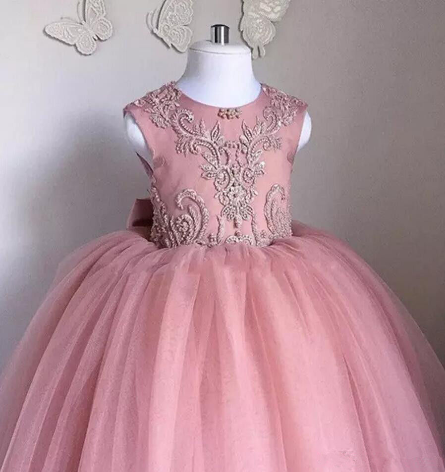 Cute 2019   Flower     Girl     Dresses   For Weddings Ball Gown Tulle Lace Bow Pearls Long First Communion   Dresses   Little   Girl