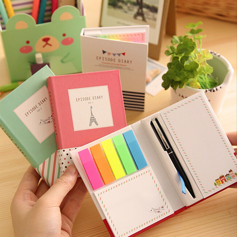 Creative Hardcover Memo Pad Notepad Sticky Notes Kawaii Stationery Diary Notebook Office School Supplies  Mixed Batch