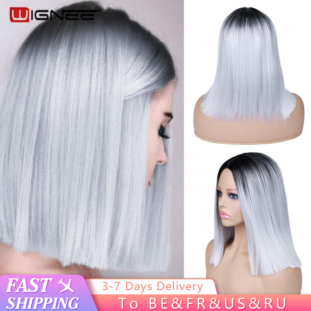 Wignee 2 Tone Synthetic Wig Ombre White Ash Blonde for Women Middle Part Short Straight Hair High Temperature Cosplay Hair Wigs