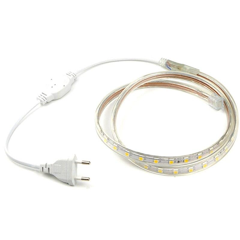 LED Strip 220V Waterproof Flexible LED Light Tape Lamp Outdoor String 60LEDs/M Led Tv Backlights EU PLUG