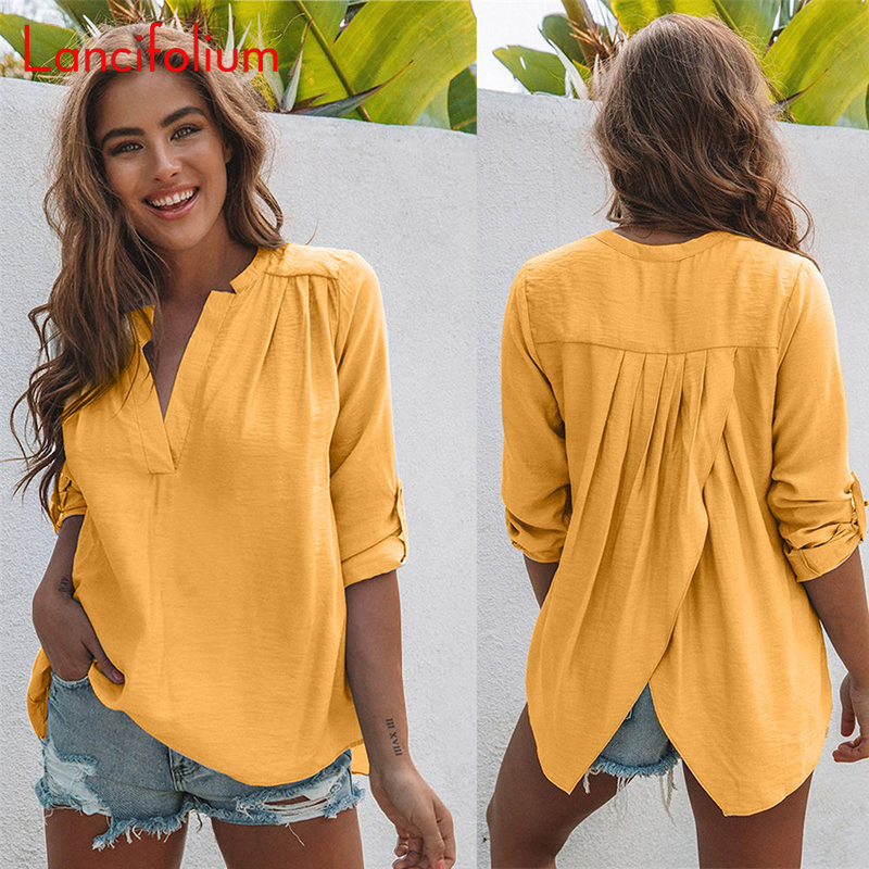 V Neck Summer Blouse Women 2020 Yellow Korean Fashion Clothes Wrap Shirts White Plus Size Women Tunic Tops Femme Camisas Mujer