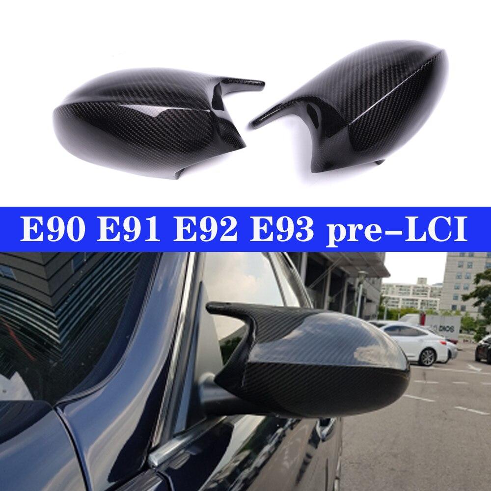 Prawdziwe Carbon lustrzane nakrętki pokrowiec na bmw serii 3 E90 E91 05-07 E92 E93 06-09 drzwi boczne w celu uzyskania M3 czapka w stylu E81 E82 E87 E88