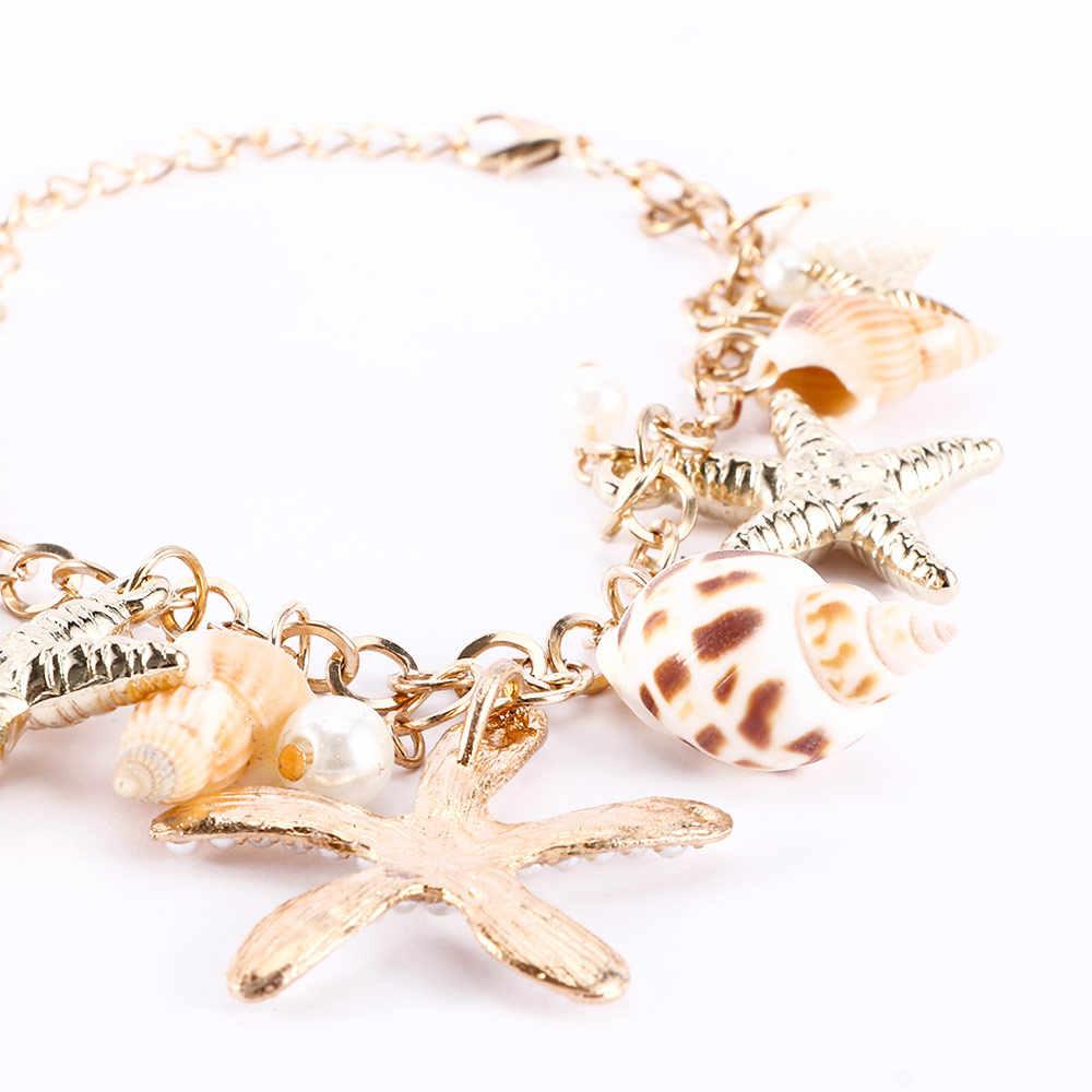 ปลาดาว Conch สร้อยข้อมือ Ocean Shell สร้อยข้อมือไข่มุกจี้กำไลข้อมือผู้หญิงปาร์ตี้เครื่องประดับชายหาด