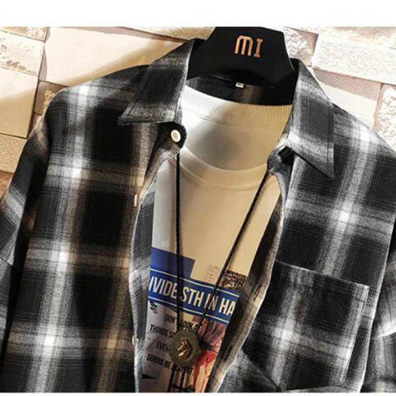 남성용 MODA VELOCE 격자 무늬 셔츠 Black Summer Shirt 남성용 단추 셔츠 Slim Fit Men Dress Shirts Long Sleeve