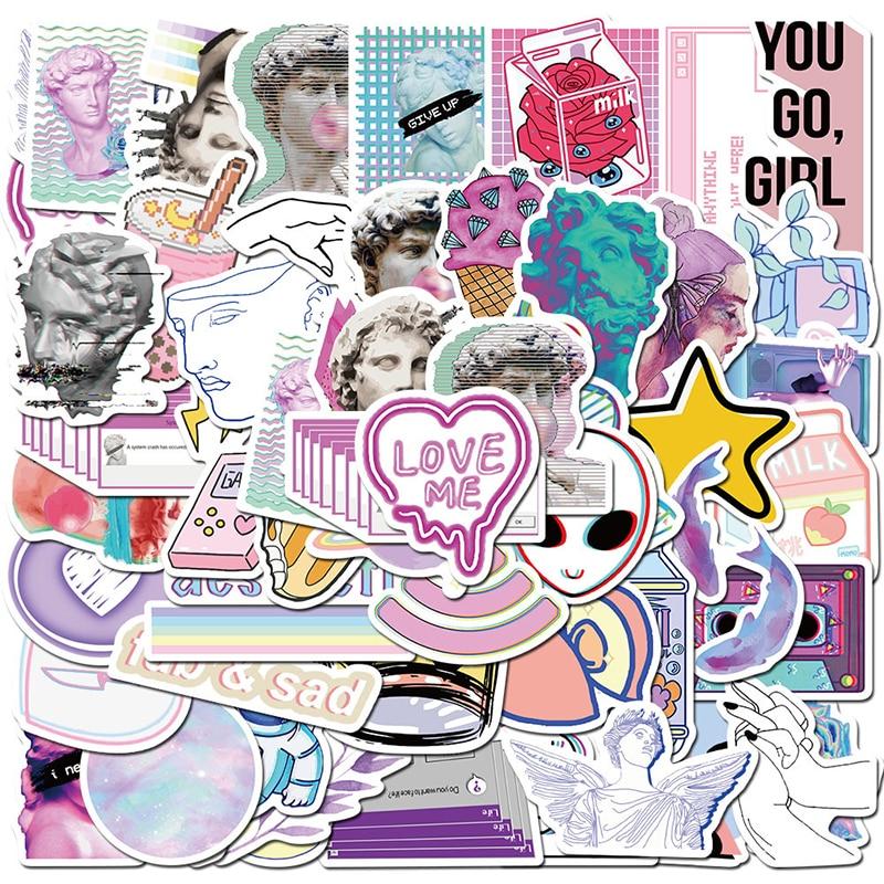 50pcs Vaporwave Art Style Sticker For Laptop Computer Skateboard Luggage Refrigerator Notebook Decals Cartoon Graffiti Stickers